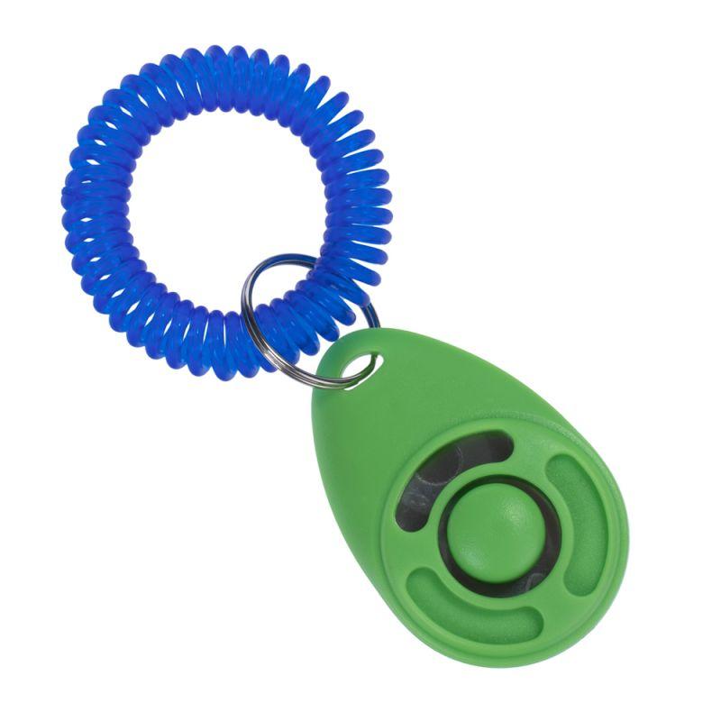 Clicker zooplus, vert avec un bracelet bleu